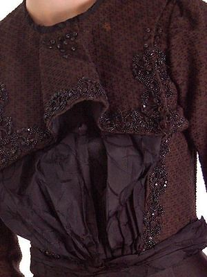 Antique Vintage Waist Blouse Black Brown Wool Beaded Top XS Victorian