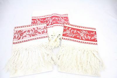 """3 Antique Red/White Linen Damask Wash Stand Towel 2 are Unused  19x32+4"""" Fringe"""