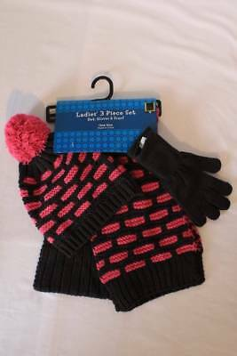 NEW Womens Scarf Hat Gloves 3 Piece Set Acrylic Knit Winter Black Pink Gift