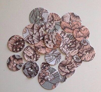 30 Vintage Style Card  Buttons Die-Cuts Card Making -Scrap Booking