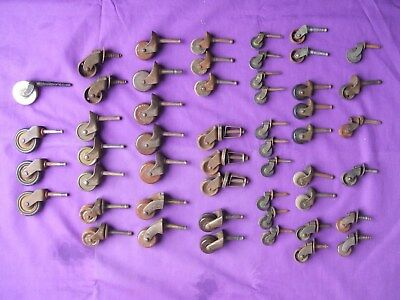 VINTAGE & ANTIQUE STEMMED CASTERS, Lot of 51 pcs, Wood, Metal, Rubber, Porcelain