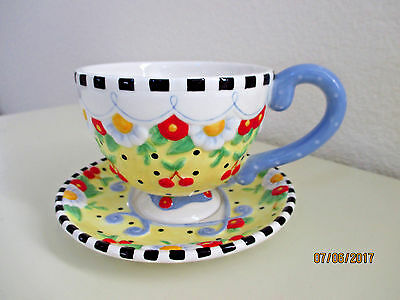 "Mary Engelbreit ""mary's Tea Cozy"" Tea Cup & Saucer (Rare Find)"