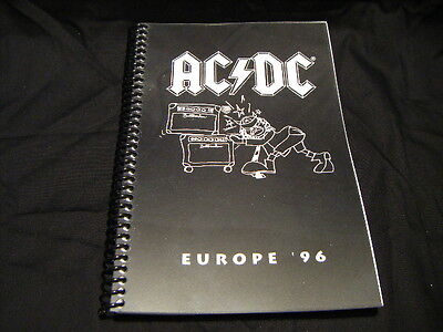 AC/DC 1996 Ballbreaker Tour Itinerary Book For Band & Crew Phone Hotels Ect