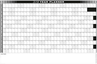 2018 - 12 MNTH YEARLY  WALL PLANNER WITH NOTES /CALENDAR   900 x 600 / 9 COLOURS