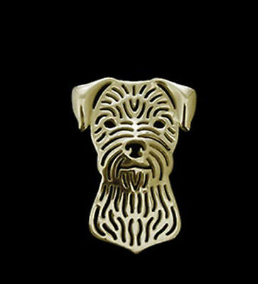 Border Terrier Head dog Brooch Lapel Pin-Fashion Jewellery Gold Plated