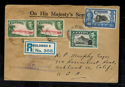 1947 Colombo Ceylon Registered Cover to USA OHMS Stamp Dealer w/contents