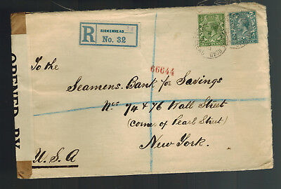 1919 Birkenhead England Cover to Seamen's Bank for Savings USA New York
