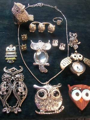 Lot Of Vintage/now Costume Jewelry All Owl Pieces Cute