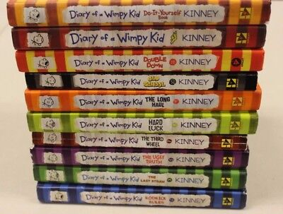 Lot of 10 Diary of a Wimpy Kid Series Jeff Kinney Hardcover Softcover 1 2 3 5 7