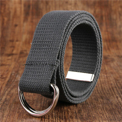 Colorful Unisex Double D-Ring Metal Stretch Buckle Canvas Waist Belt nice