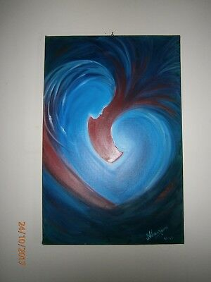 """TWO SOULS IN ONE HEART"" Original oil painting on canvas 20 x 28 inches size"