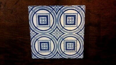 Rare Antique Victorian Arts & Crafts Floreat Salopia Maw & Co Blue & White Tile