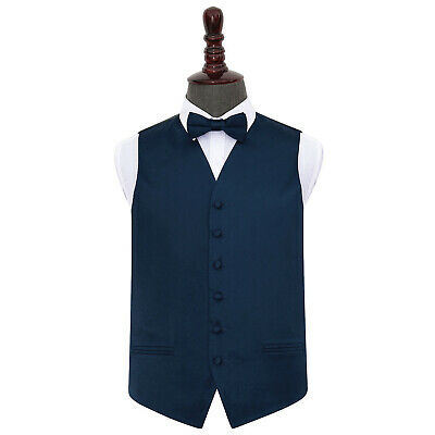 DQT Satin Plain Solid Navy Blue Mens Wedding Waistcoat & Bow Tie Set S-5XL