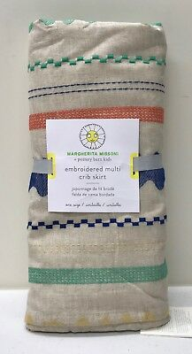 NEW Pottery Barn KIDS Margherita Missoni Embroidered Nursery Crib Skirt