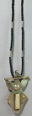 Traditional Amulet Tuareg Black Beads Accessory Necklace Silver Tcherot Saharan