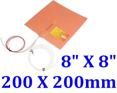 "8"" X 8"" 200 X200mm w/ 3M w/ Thermistor 3D Printer Heated Bed Silicone Heater Pad"