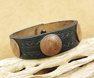 Native American Taos Black Leather Vintage Indian Head Penny Coin Bracelet