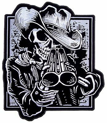 Cowboy Skeleton With Shotgun Embroidered Biker Patch Large FREE SHIP