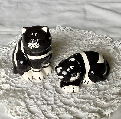 Tabby Cat Salt & Pepper Shakers Handpainted Black/White Striped Cats