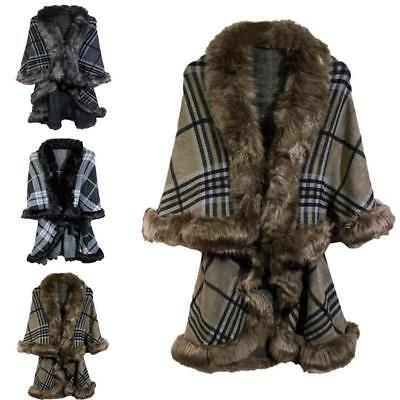 New Women Check Style Large Winter Faux Fur Poncho Warm Shawl Christmas Gift  UK