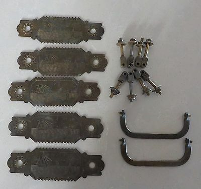 5 Unique Antique Victorian Drawer Back Plates Brass Hardware Nautical Theme