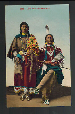 Mint Postcard Native American Indian Ute Chief with his Squaw