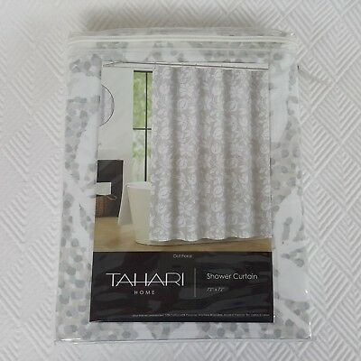 Tahari Home Shower Curtain Dot Floral White Gray Beige Flowers 72 X NEW