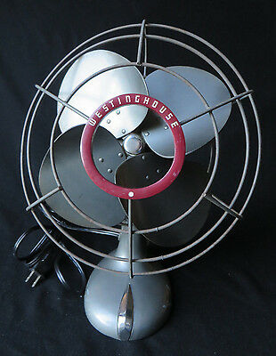 Vintage Westinghouse Art Deco Industrial Oscillating Table Fan Works Ex Conditio
