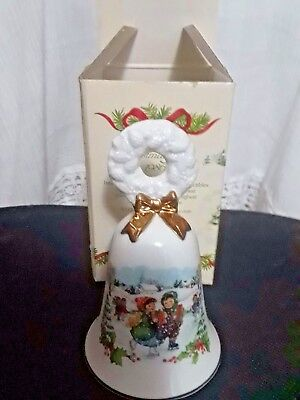 NEW Avon Porcelain 1986 Christmas Bell Gold Trim Little Boy & Girl  Ice Skating