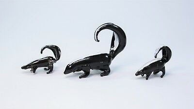 3 Set of Skunks Figurine of Blown Glass Crystal