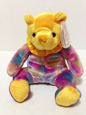 NOVEMBER the Birthday Bear 2001 Ty Beanie Baby Plush Toy Animal New with Tags