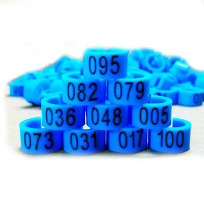 New 100 Pcs 8mm 1-100 Numbered Poultry Leg Bands Bird Pigeon Duck Rings Clip BS