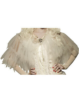 White Good Witch Adult Women Ruffled Sheer Ghost Costume Capelet Shawl