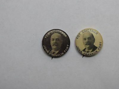 Vintage Lot of 2 JOHN FRANKLIN FORT New Jersey Governor POLITICAL Pin BUTTONS