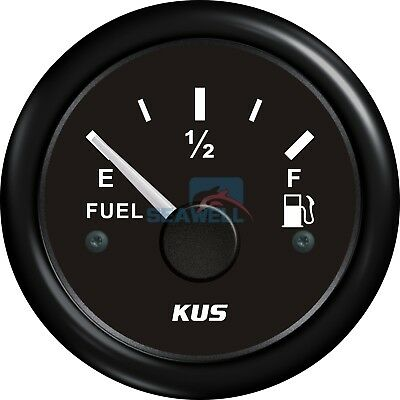 KUS Fuel Gauge Marine Boat RV Car Gas Diesel Tank Level Gauge Black 52mm 240-33Ω