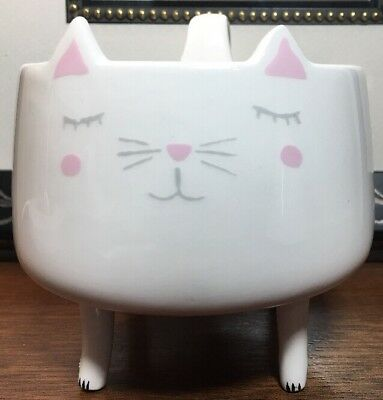 Arlington Designs FIGURAL STANDING CAT Mug*White Grey Pink*Tail Handle*NEW!