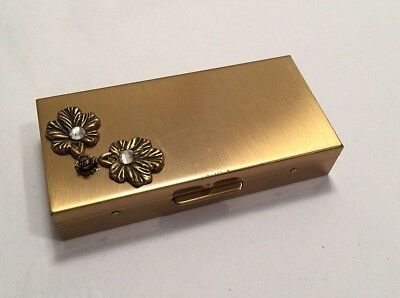 1950s - 60s Vintage Lady's  Rhinestone and Brass Cigarette Case