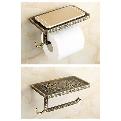 Antique Brass Toilet Roll Paper Rack Luxury Wall Mounted Classic Bathroom Decor