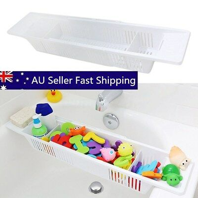 Adjustable Kids Bath Shower Tub Toys Organizer Retractable Basket Storage Holder