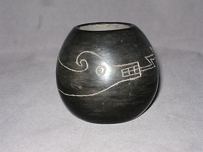 "Santa Clara BLACK ON BLACK Miniature Carved Pottery Pot 2 1/2""  Myra Sisneros"