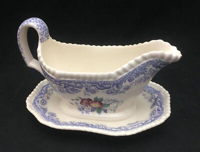 Spode Mayflower Gravyboat with underplate - Beautiful Floral Center