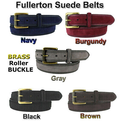 """Suede Leather Golf Brass Buckle Belt Fullerton 1 3/8"""" 35Mm Wide Casual New Nwt"""