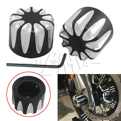 1Pair CNC Edge Cut Front Axle Nut Covers Caps for Harley Scooter