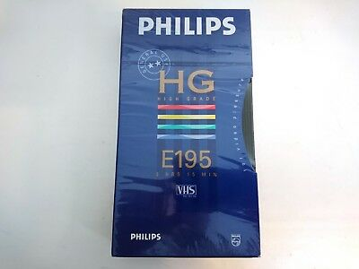 PHILIPS HG High Grade E195 VHS Blank Tape PAL SECAM Vintage SEALED