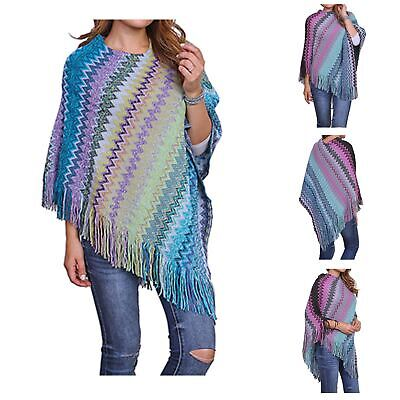Women's Colorful Chevron Knit Poncho Wrap Shawl