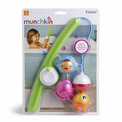 Munchkin Fishing Bath Toy Set  Magnetic Fishing Rod Underwater Bobbing Character