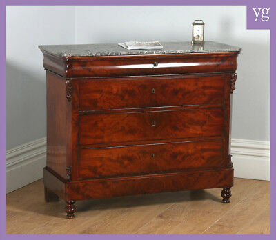 Antique French Louis Flame Mahogany & Marble Commode Chest of Drawers (c.1850)