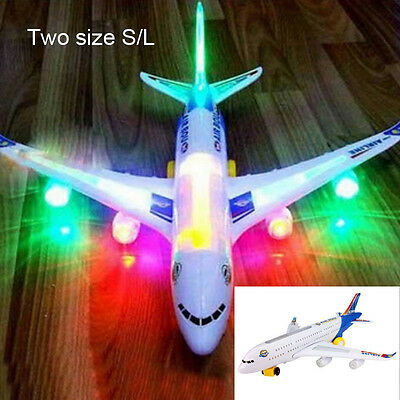 1pc Electric Airplane Airbus Child Toy Musical Moving Flashing Lights Sounds Toy