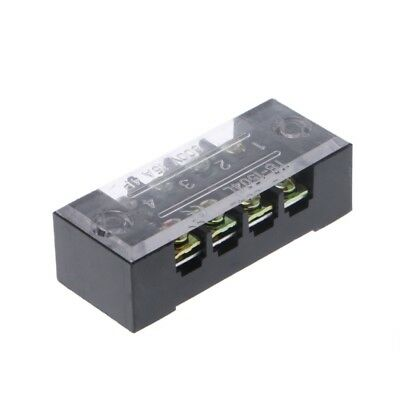 3Pcs 15A 600V 4 Positions Dual Rows Covered Barrier Screw Terminal Block Strip