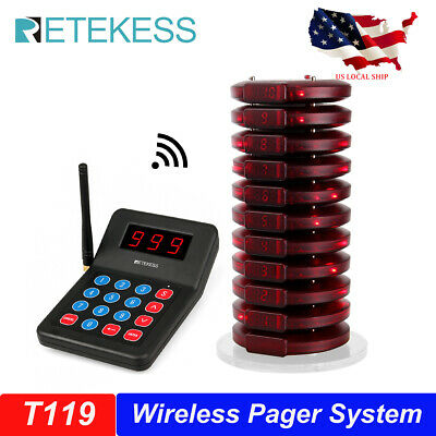 Restaurant Wireless Paging Queuing System+10 Call Coaster Pager for auto shop